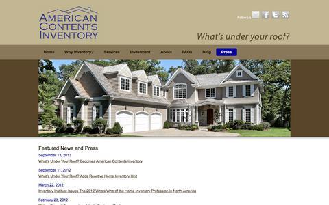Screenshot of Press Page americancontents.com - Press - American Contents Inventory - captured Jan. 10, 2016