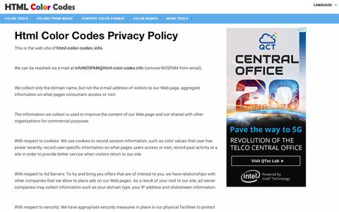Screenshot of Privacy Page html-color-codes.info - Contact - captured Sept. 21, 2018
