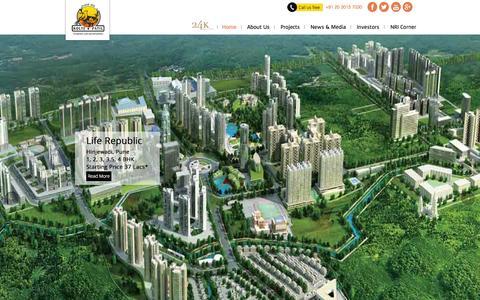 Screenshot of Home Page koltepatil.com - Real Estate Developers in Pune | Builders in Pune | Kolte-Patil Developers Ltd. - captured Sept. 22, 2014