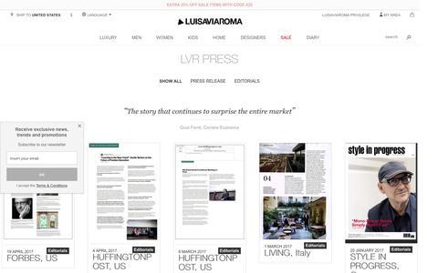 Screenshot of Press Page luisaviaroma.com - LVR Press - LUISAVIAROMA - captured May 6, 2017