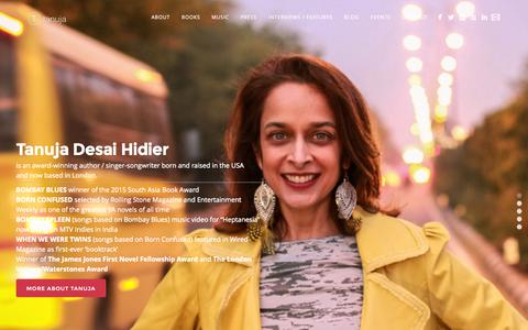 Screenshot of Home Page thisistanuja.com - Tanuja Desai Hidier - Critically Acclaimed Author, Singer, Songwriter - captured Oct. 9, 2015