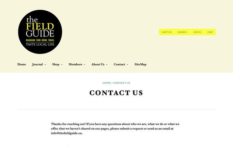 Screenshot of Contact Page thefieldguide.ca - Contact Us | The Field Guide - Okanagan - captured Jan. 11, 2016
