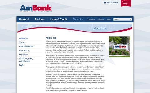 Screenshot of About Page myambank.com - About American Bank of Commerce | Provo - Lindon - Heber City | UT - captured Oct. 4, 2014