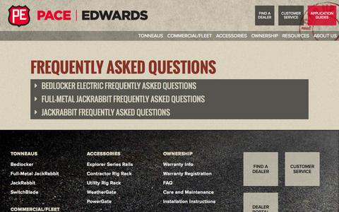 Screenshot of FAQ Page pace-edwards.com - Frequently Asked Questions - captured July 17, 2015