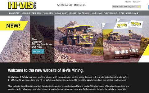 Screenshot of Home Page hivismining.com.au - Hi-Vis Signs & Safety | Mining Signs | Mine Signs - captured July 19, 2018