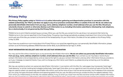 Screenshot of Privacy Page trakamerica.com - Privacy Policy - TRAKAmerica - Please Read Carefully - captured Sept. 21, 2018