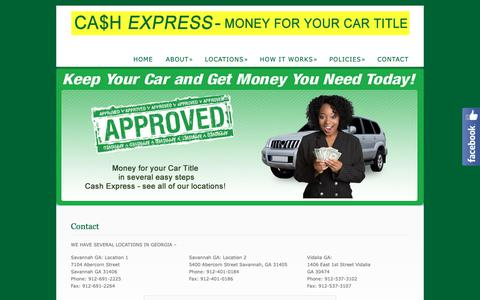 Screenshot of Contact Page cashexpressga.com - Contact  @  Cash Express - captured Sept. 27, 2018