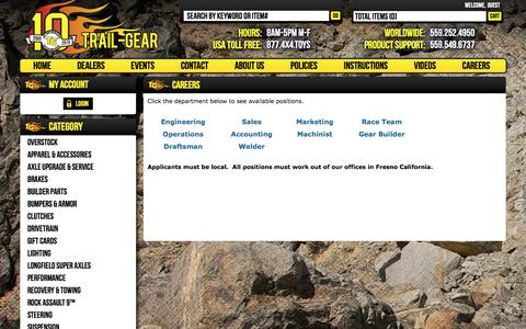 Screenshot of Jobs Page trail-gear.com - Careers - captured Dec. 25, 2016