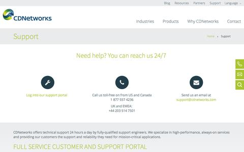 Screenshot of Support Page cdnetworks.com - Support | CDNetworks - captured May 11, 2017