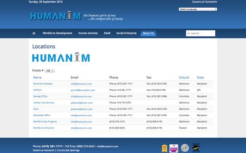 Screenshot of Locations Page humanim.com - Humanim - Locations / Contact Us - captured Sept. 30, 2014