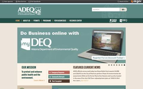 Screenshot of Home Page azdeq.gov - ADEQ Arizona Department of Environmental Quality | Our mission is to protect and enhance public health and the environment - captured Nov. 6, 2016