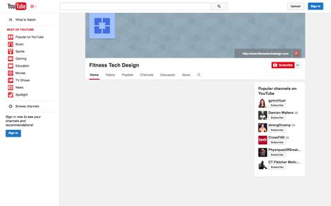 Screenshot of YouTube Page youtube.com - Fitness Tech Design  - YouTube - captured Oct. 23, 2014