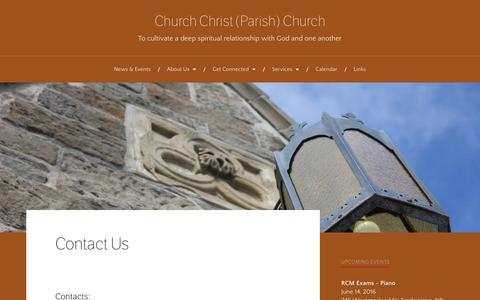 Screenshot of Contact Page wordpress.com - Contact Us – Church Christ (Parish) Church - captured June 14, 2016