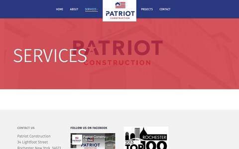 Screenshot of Services Page nypatriot.com - Services | Patriot Construction - captured Oct. 25, 2016