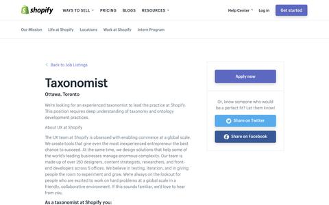 Screenshot of Jobs Page shopify.com - Taxonomist - Careers and jobs at Shopify - captured Dec. 5, 2017