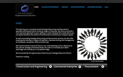 Screenshot of Home Page theidesgroup.com.au - The Ides Group - Strategic Resourcing and Recruitment - captured Sept. 30, 2014