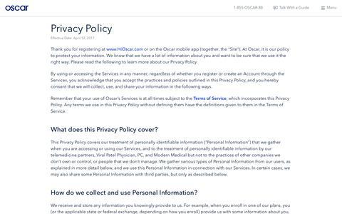 Oscar | Privacy Policy