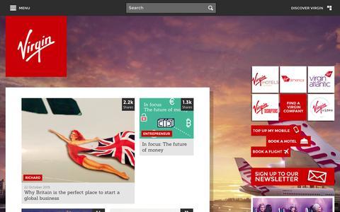 Screenshot of Home Page virgin.com - Home - Virgin.com - captured Oct. 22, 2015