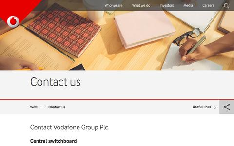 Screenshot of Contact Page vodafone.com - Contact us - captured March 29, 2016
