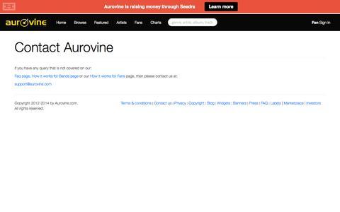 Screenshot of Contact Page aurovine.com - Aurovine - Aurovine contact page - Discover New Music - captured Sept. 30, 2014