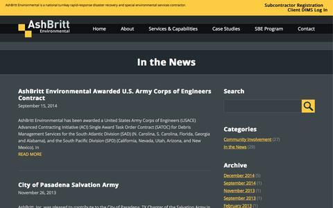 Screenshot of Press Page ashbritt.com - AshBritt   In the News - captured Feb. 6, 2016