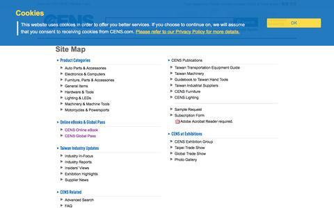 Screenshot of Site Map Page cens.com - Site Map | CENS.com - captured Sept. 25, 2018