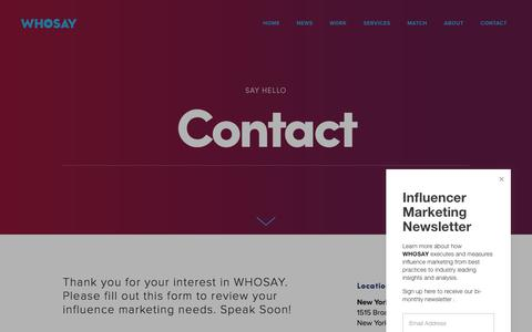 Screenshot of Contact Page whosay.com - Contact — WHOSAY - captured Sept. 21, 2018