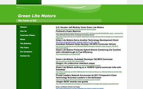 Screenshot of Press Page greenlitemotors.com - Green Lite Motors - captured Oct. 3, 2014