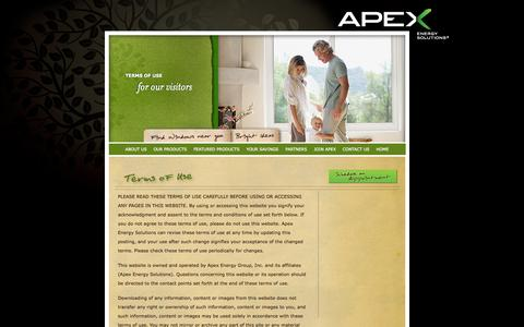 Screenshot of Terms Page apexenergygroup.com - Apex Energy Solutions   Terms of Use - captured Sept. 30, 2014