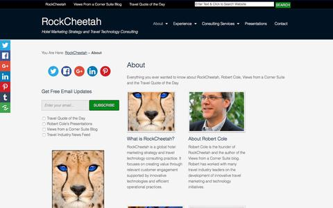 Screenshot of About Page rockcheetah.com - About RockCheetah's Robert Cole, Blog and his Travel Quotes of the Day - captured Oct. 22, 2017