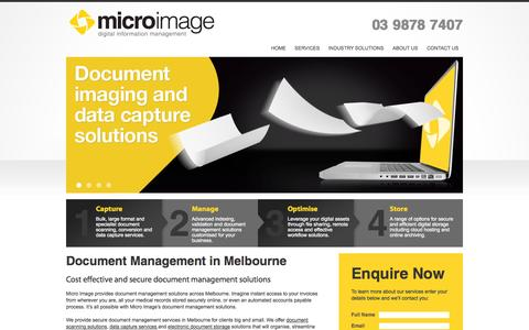 Screenshot of Home Page microimage.com.au - Micro Image: Document Management in Melbourne – Secure Documents - captured Oct. 6, 2014