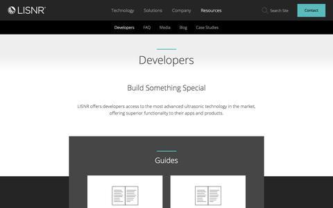 Screenshot of Developers Page lisnr.com - Developers - Lisnr Lisnr | The Data-Over-Audio Leader - captured July 13, 2018
