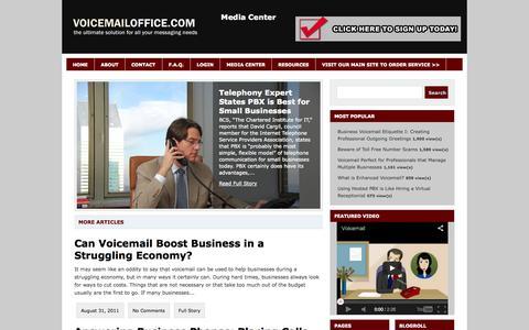 Screenshot of Press Page voicemailoffice.com - Voicemail Office - Voicemail, Local Voice Mail, Toll Free Voicemail, Voice Mail to Email - captured Oct. 9, 2014