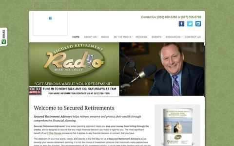 Screenshot of Home Page securedretirements.com - Home   Secured Retirement Advisors, LLC - captured Oct. 6, 2014