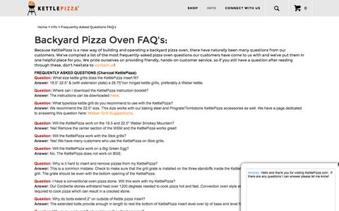 Screenshot of FAQ Page kettlepizza.com - Back Yard Pizza Oven Questions | Wood-Fired Oven Questions - captured Nov. 27, 2016