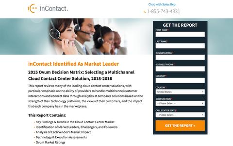 Screenshot of Landing Page incontact.com - Ovum Decision Matrix - Selecting a Multichannel Cloud Contact Center   Solution - captured Aug. 18, 2016