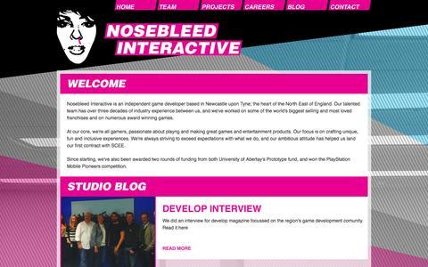 Screenshot of Home Page nosebleedinteractive.com - Welcome | Nosebleed Interactive - captured Oct. 6, 2014