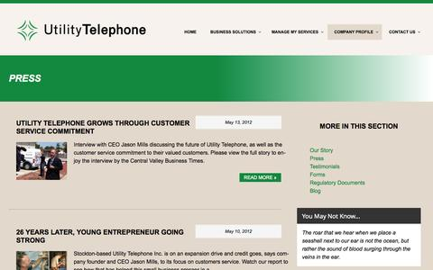 Screenshot of Press Page utilitytelephone.com - Press - Utility Telephone - captured Oct. 29, 2014