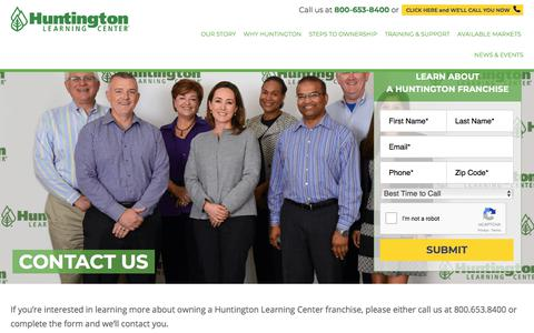 Screenshot of Contact Page huntingtonfranchise.com - Own a Learning Center Franchise Business | Contact Huntington Today - captured Jan. 23, 2018