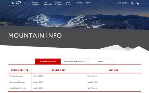 Screenshot of Hours Page whistlerblackcomb.com - Mountain Info | Whistler Blackcomb - captured Feb. 10, 2018
