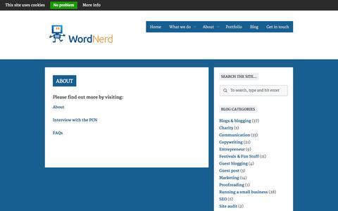 Screenshot of About Page wordnerd.co.uk - WordNerd - web copy, blog writing, website audits & proofreading - captured Oct. 26, 2014