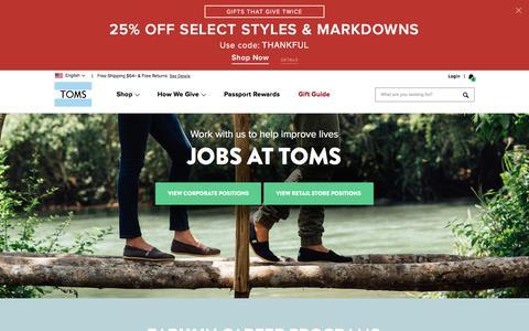 Screenshot of Jobs Page toms.com - Jobs at TOMS | TOMS® - captured Nov. 24, 2017