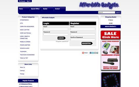 Screenshot of Login Page affordablegadgets.com - AffordableGadgets.com  - Your one stop shop for Home Gadget Solutions! - captured Oct. 26, 2014
