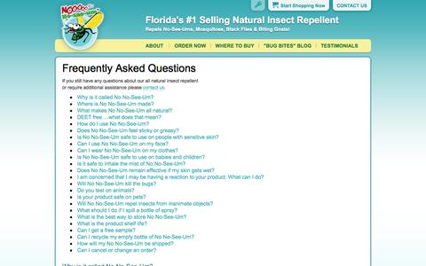 Screenshot of FAQ Page nonoseeum.com - Noseeum repellent - Natural bug spray & insect repellent for noseeums & mosquitoes - captured Oct. 7, 2014
