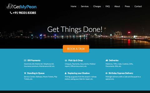 Screenshot of Home Page getmypeon.com - GetMyPeon - captured Sept. 19, 2014