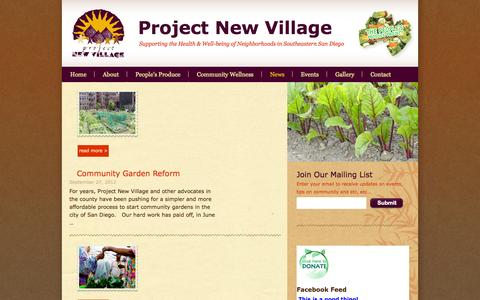 Screenshot of Press Page projectnewvillage.org - News | Project New Village | Supporting the Health & Well-being of Neighborhoods in Southeastern San Diego - captured Sept. 30, 2014