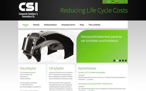 Screenshot of Home Page csi-composites.fi - Etusivu | CSI Composite Solutions and Innovations OyCSI Composite Solutions and Innovations Oy - captured Oct. 1, 2014