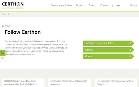 Screenshot of Press Page certhon.com - Horticulture news - Follow Certhon - Certhon Greenhouse Solutions - captured Nov. 2, 2016