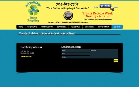 Screenshot of Contact Page wasterecyclingdisposal.com - Advantage Waste dumpster rentals in Charlotte | CONTACT - captured Nov. 20, 2016