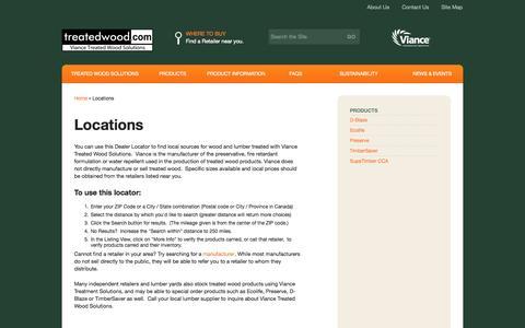 Screenshot of Locations Page treatedwood.com - Locations - Treatedwood.com - captured Oct. 7, 2014